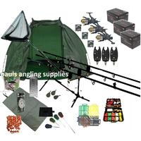 3 Rod Carp Set Up Kit Fishing Rods Reels Alarms Bait Tackle Mat